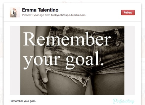 Screencap of a pin of a pair of denim shorts with remember your goal written over top.