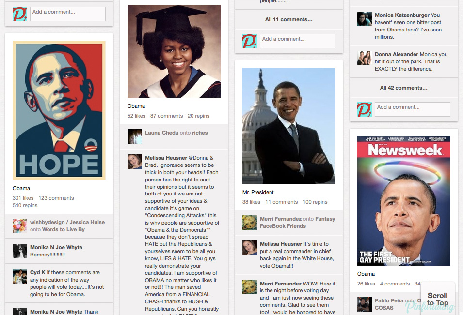 Screen cap of pro obama pins on Pinterest.