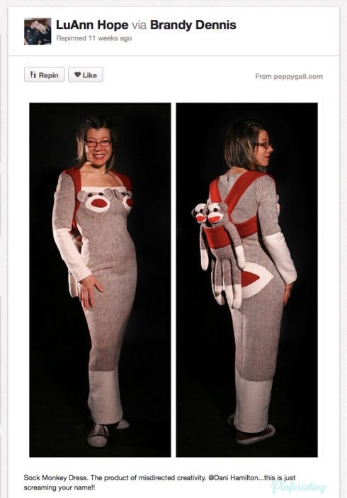 A head-to-toe sock monkey dress.